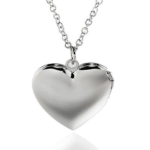 Simple Heart Locket Necklaces Pendant Lockets for Women Girl That Hold Pictures Jewelry (Big Heart Purple)