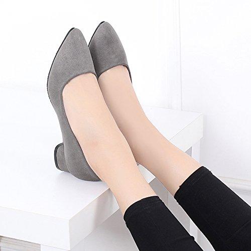 GTVERNH-Frühling Damenschuhe Im Frühjahr 3Cm Hochhackige Schuhe Spitze Einzelne Schuhe Schwere Schuhe Schuhe Mitte - Heels.
