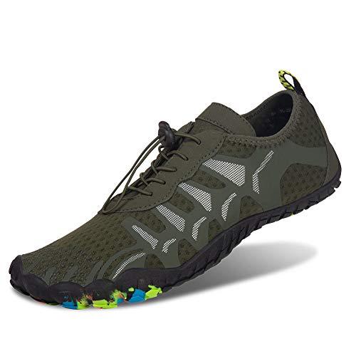 FEIFAN Men Women Water Shoes Lightweight Quick-Dry Barefoot Flexible Beach Swim Yoga Shoes Green 36