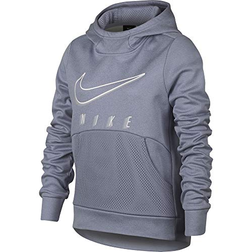 Nike Girl's Therma Training Pullover Hoodie Ashen Slate/Heather Size Medium
