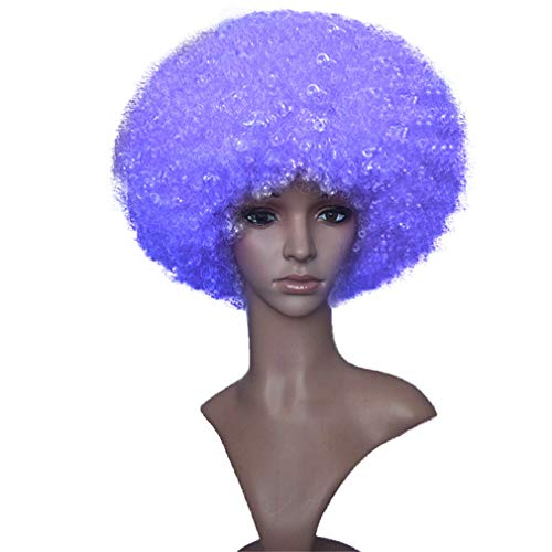 Costume Afro Wig Purple Synthetic Kinky Wigs by Namecute + Free Wig Cap ()