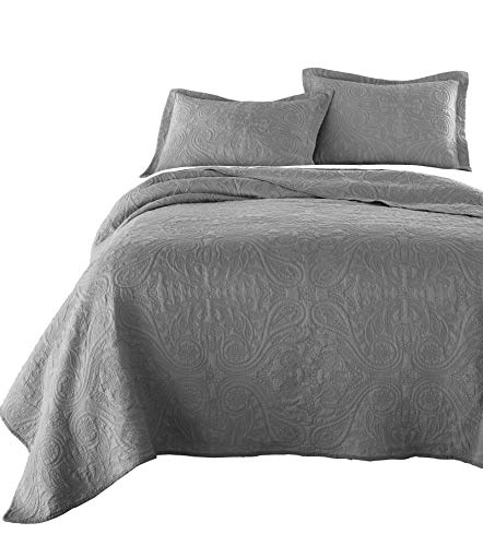 Chezmoi Collection Melissa 3-Piece Vintage Floral Paisley 100%-Cotton Quilt Set (Queen, Gray) ()