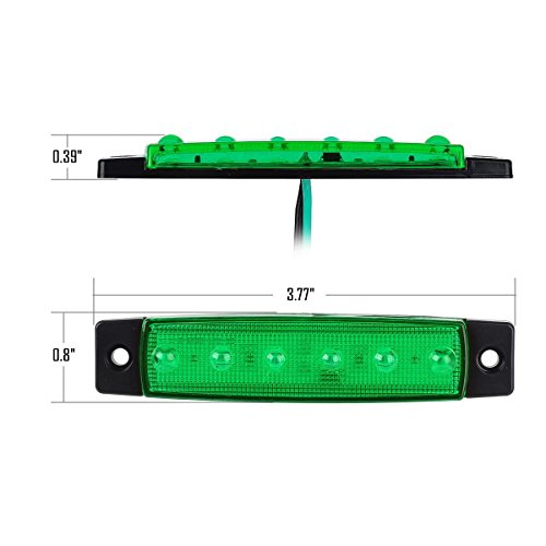 Partsam-20x-Green-4-Side-Marker-Indicators-Lights-6LED-Truck-Trailer-ATV-Lorry-Front-Rear-Universal-Thin-Line-LED-Marker-Clearence-Bus-RV-Accessories-Camper-Parts-Marker-Light-Sidelight-License