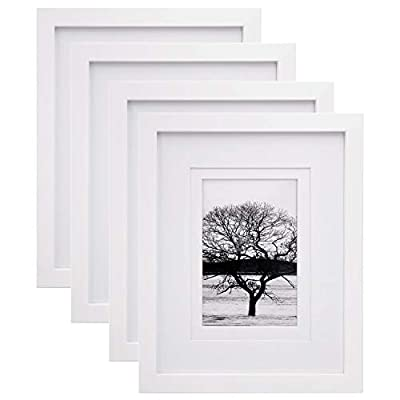 Egofine 8x10 Picture Frames 4 PCS, Made of Solid Wood Display 4x6 and 5x7 with Mat HD Plexiglass, for Table Top Display… - MULTIPLE PHOTOS DISPLAY: Ideal decor frame for 8x10 picture or print, also for 5x7 or 4x6 picture with mats. Great gift for Christmas, Thanksgiving, best friend birthday. Display your photographs, travel souvenirs, concert programs, awards, certificates, artwork SOLID WOOD: The 8x10 picture frames made with premium quality solid wood which will be a long-lasting way to showcase your favorite memories. Transparent acrylic glass to protect your photo from dust, moisture and scratches. WALL MOUNT: All frames come with build-in wall mounting hangers, and include eight nails to easily hang artwork or photographs in either portrait or landscape orientation - picture-frames, bedroom-decor, bedroom - 41ny9MmW5lL. SS400  -