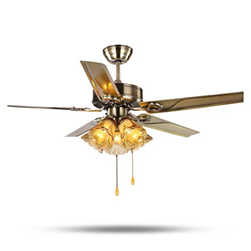 - Indoor Ceiling Fans Lights Lamps Ceiling Fan Light Wrought Iron 5 Leaf Fan Lamp Living Room European Retro Simple Charged Fan Light Chandelier Ceiling Fans Lights Lamps (Size : 52 inches 130cm)