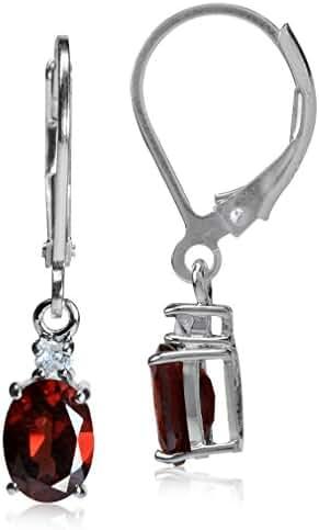 1.82ct. Natural Garnet & White Topaz 925 Sterling Silver Leverback Earrings