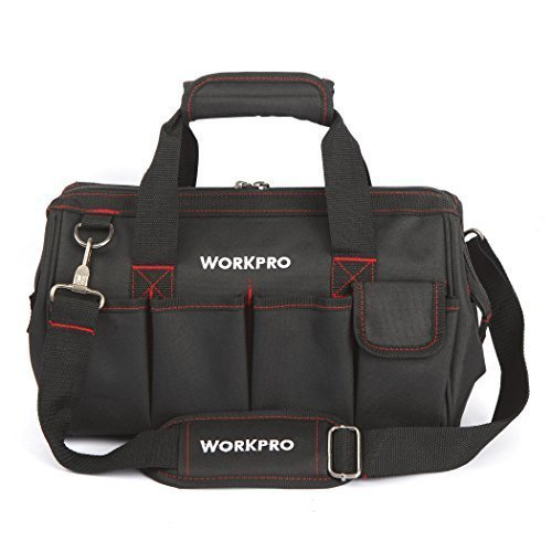 WORKPRO 14-inch Close Top Wide Mouth Storage Tool Bag - Wide Mouth Tool Organizer