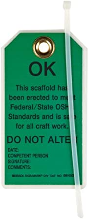 """Brady 86452 5-3/4"""" Height, 3"""" Width, B-852 Reusable Dura-Tag, Black On Green Color Scaffolding Tags (Pack Of 10)"""