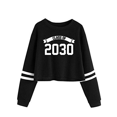 Ladies Crop Top Sweatshirt, Casual Crew Neck Letter Print Long Sleeve Blouse Tunic Tops T-Shirt at Amazon Womens Clothing store: