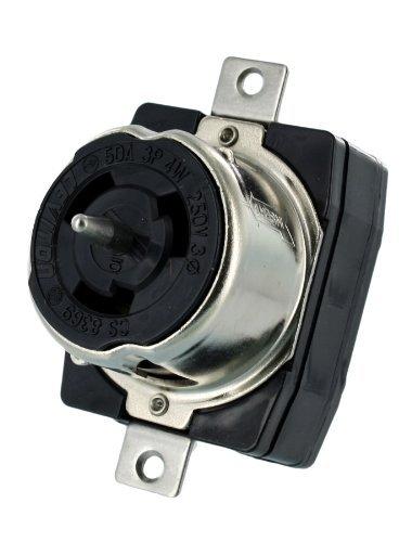 Leviton CS8369 50 Amp, 3PY, 250 Volt AC, Black and White Locking Flush Mount Receptacle, Industrial Grade, Grounding, California-Style, Black