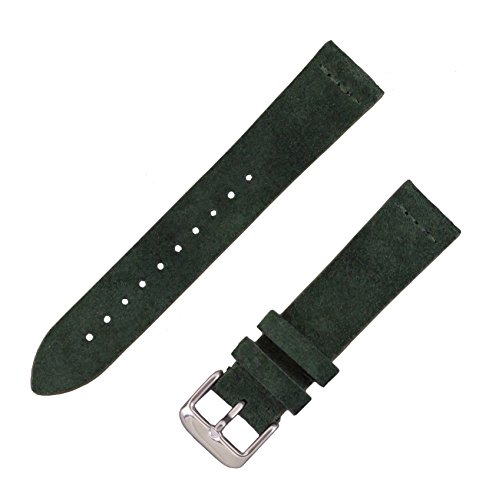 Benchmark Straps Forest Green Suede Leather Watchband | 18mm, 20mm & 22mm (22mm, Forest Green) ()