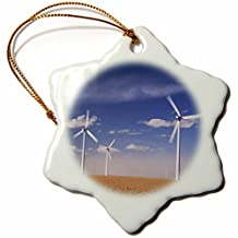 Danita Delimont - Windmills - Electric Windmill, power, Two Buttes, Colorado - NA02 RNU0089 - Rolf Nussbaumer - Ornaments - 3 inch Snowflake Porcelain Ornament (orn_84236_1)