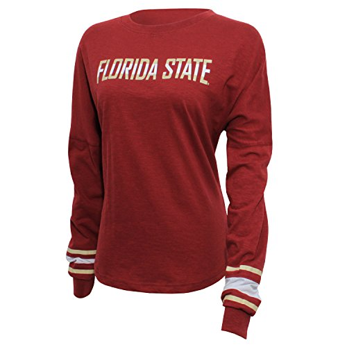 Florida Striped Shirt (NCAA Florida State Seminoles Women's Campus Specialties Long sleeve Fan Tee, Small, Garnet)