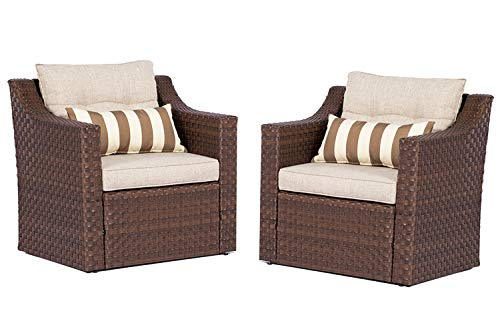 Solaura Patio Outdoor Furniture 2 Piece Additional Single Chairs Brown Wicker Light Brown Olefin Fiber Cushions with Striped Pillows ()