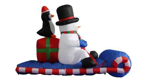 6 Foot Long Christmas Inflatable Snowman Penguin on Sleigh Yard Decoration by BZB Goods (Image #2)