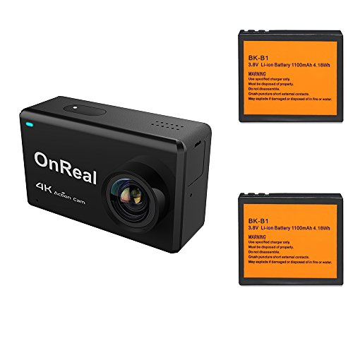 OnReal 4K Action Camera 2.45 inch Touch Screen WiFi Camera Underwater Camera 170 Degree View Angle and with Two Batteries (Reviews Screen Camera Digital Touch)