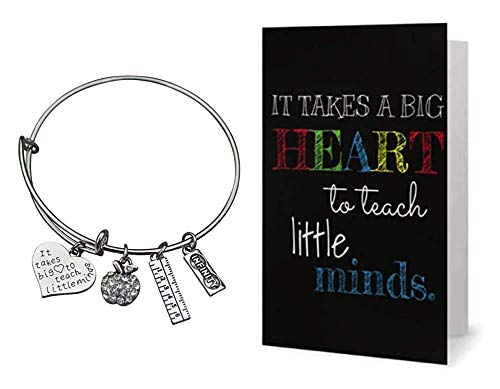 Infinity Collection Teacher Bangle Bracelet and Card Gift Set- Teacher Jewelry, Teacher Gift, Show Your Teacher Appreciation Thank You Gifts for Teachers