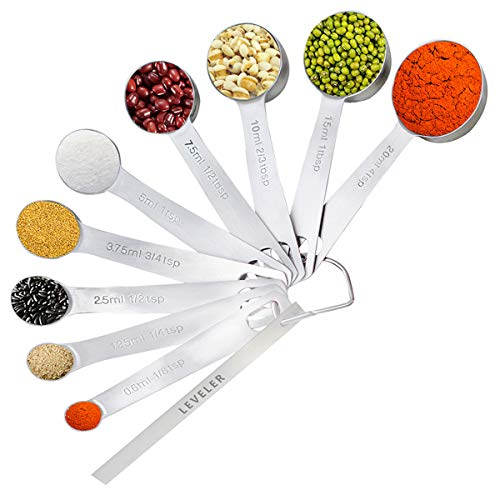 Measuring Spoons Stainless Steel, Yoelike Set of 9+1 for Measurement Dry and Liquid Ingredients Mini Milliliter Teaspoon and Tablespoon Accurate Measure Spoon Tool for Home/Kitchen/Cooking/Baking by Yoelike
