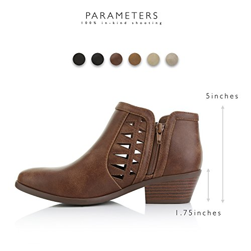 DailyShoes Ultra 01 Change Women's Cognac Perforated Comfortable and Western Cowboy Bootie Soft Pu wrrzvIq
