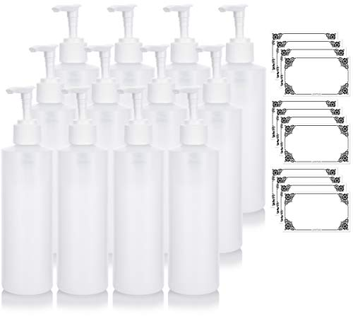 Clear Natural Large Refillable Plastic Squeeze Bottle with White Lotion Pump Dispenser 8 oz - (12 Pack) + ()