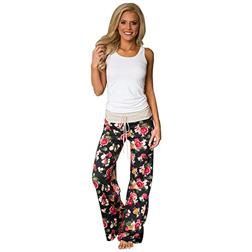 Boho Hip Vita Estivo Pants Trousers Donna Tuta Floreale Hop Baggy Chic Color per Hippie Jumpsuit Yoga Sportivi Palestra Jogging Pantaloni Leg Lungo Danza Harem 14 Larghi Pigiama Stampa Pantalone Alta Wide Eqx66X