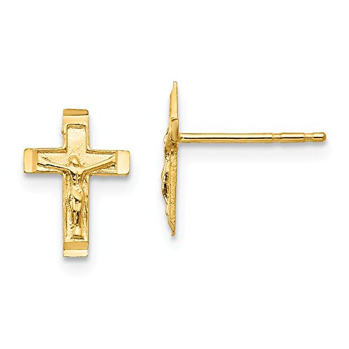 (14k Yellow Gold Childs Crucifix Post Earrings w/ Gift Box. (10MM Long x 8MM Wide))