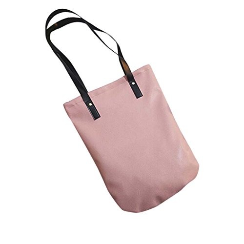 Bolso Bandolera Bolsa de hombro de Piel XXL Grande Rojo para Mujer y Shoppers por ESAILQ C Rosado