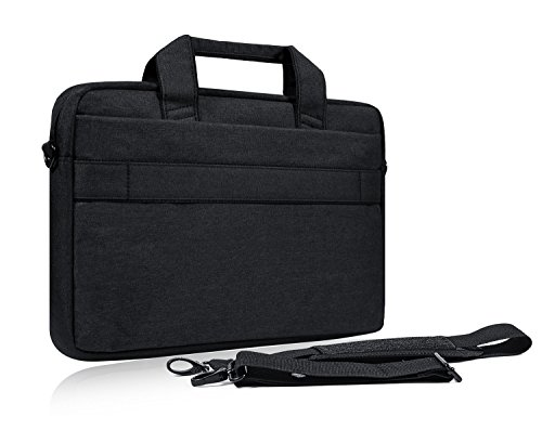 15.6 Inch Laptop Shoulder Bag, Waterproof Multi-functional Fabric Laptop Sleeve Bag Case with Carrying Strap for Acer Chromebook 15, Dell Inspiron, Asus Dell Lenovo Toshiba HP Chromebook, Black