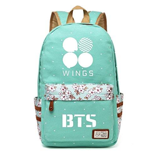 Casual Wig (JUSTGOGO Korean Casual Backpack Daypack Laptop Bag College Bag Book Bag School Bag (Green 2))