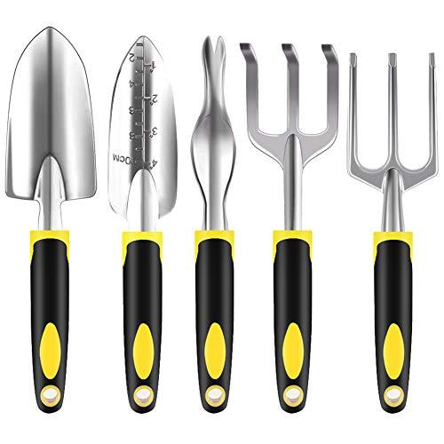 Joyclub Garden Tool Set Heavy Duty Garden Tool Kit with Garden Shovel, Spade, Rakes for Woman and Men