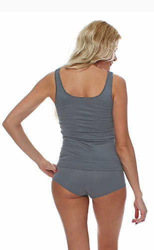 Damen Shirt ohne Arm, Achsel-Top Micromodal, Unterhemd von Schöller, Farbe Nickel / Grauton, in der Größe 40