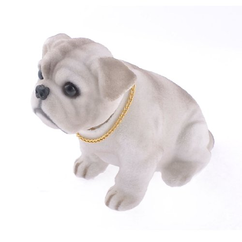 - uxcell Shaking Head Nodding Bulldog Dog Decoration for Car White Light Gray