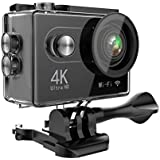 Hiearcool H9 Action Camera 4K Ultra HD 12MP WIFI Sport Cam Waterproof Underwater 30M, Dual 2inch LCD display, 170° Wide Angle Lens - 25 Accessories Kits