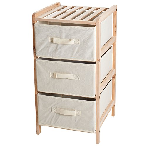 Organization Drawers with Natural Wood Shelf and Three Fabric Storage Bins- Lightweight and Perfect for Dorms, Bathrooms or Bedrooms by Lavish Home - 3 Drawer Shelf