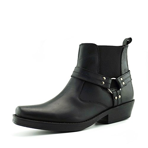 Mens Negro Leather s Biker Ankle Cowboy Boots qfHq1O