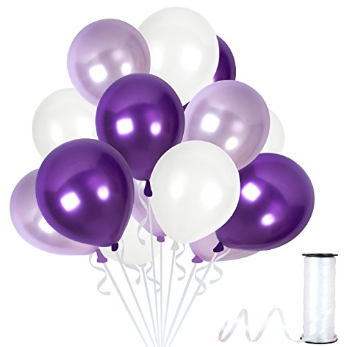 Assorted Metallic White Purple Balloons 12 Inch Lilac Lavender Violet Thick Latex Balloon Bulk Pack of 100 and Ribbons Party Supplies for Wedding Bridal Baby Shower Birthday Decorations