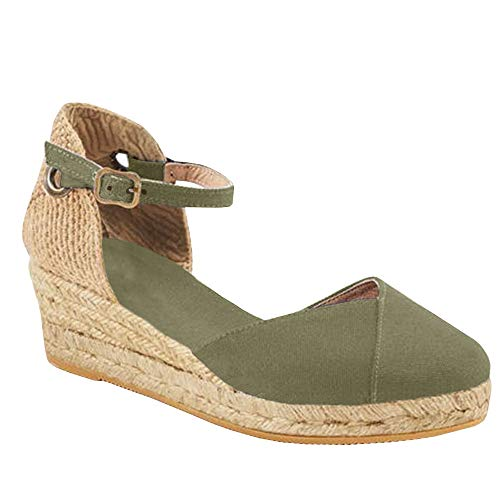 Womens Closed Toe Espadrilles Platform Mid Wedge Heel Shoes Ankle Strap Sandals Army Green