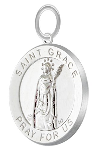 Grace Medal Pendant - US Jewels And Gems New Polished 3/4in 0.925 Sterling Silver Saint St Grace Round Medal Pendant