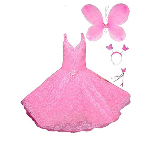 FOCIL Blended Baby Girl's Pink Angel Pari Dress (7-8 -