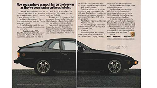 """Magazine Print ad: 1986 Black Porsche 924S, two-door, 2+2 coupe,""""Now You Can Have as Much Fun on the Freeway as They've Been Having on the Autobahn"""", 2 pages"""