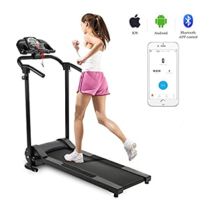 ZELUS Folding Treadmill Electric Motorized Running Machine with Downloadable Sports App Control Walking & Running OR Treadmill Mat, Cup Holder, MP3 Player & Wheels Easy Assembly