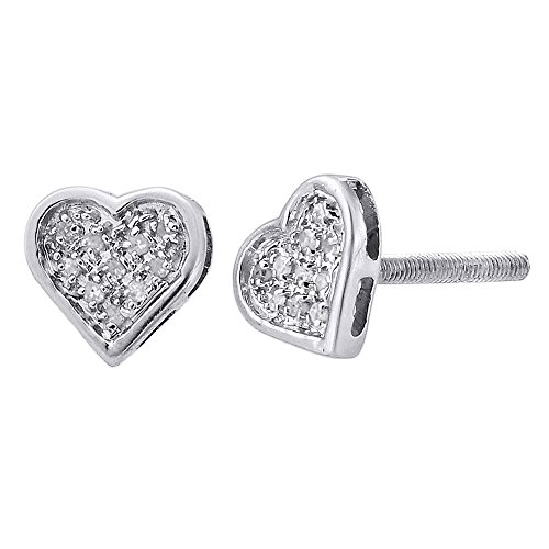 Earrings Heart Diamond Round Shaped - .925 Sterling Silver Round Diamond Heart Shaped Stud Earrings 0.05 Cttw