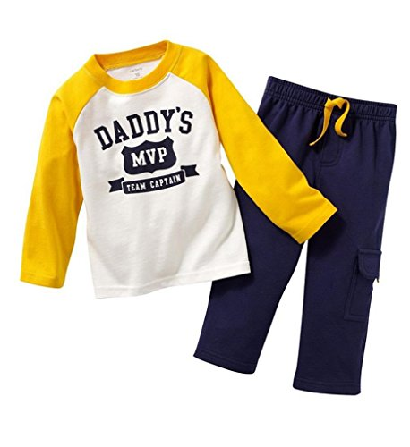 Daddy's MVP Boys Long Sleeve Clothing Set Baby T-Shirt+Pants Outfits, - Shipping International Time