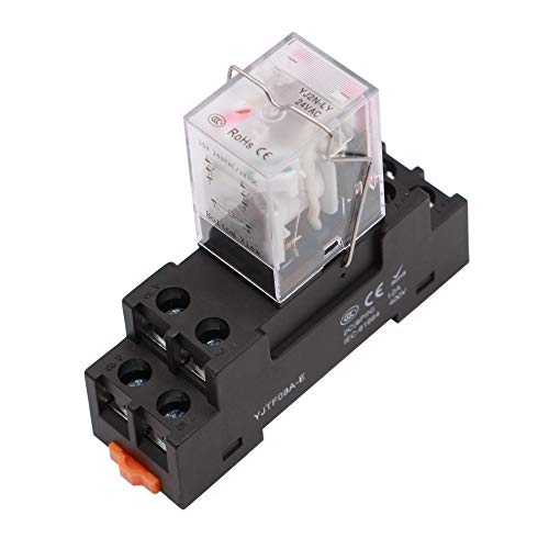 8 Pin 10A 110VAC/120VAC Coil Electromagnetic Relay with Socket Base DPDT with LED and Mechanical Indicator LY2N-J
