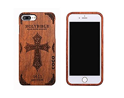 CoCo@ iPhone 7 Plus case, Iphone 7 Plus Wooden Case Wood Cover 100% Unique Genuine Handmade Natural Wood Wooden Hard Bamboo Shockproof Case Like as Artwork for New Iphone 7plus (2016) by CoCo