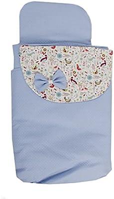 Saco Capazo 3 USOS- Carrito bebe (Saco + colchoneta + Colcha)  .Serie Iris .Color celeste: Amazon.es: Bebé