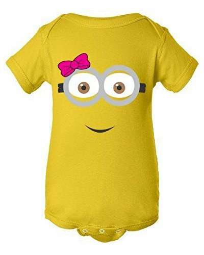 Girl Minion two eyes Onesie | Infant Baby Rib Bodysuit | Baby (Despicable Me Onesie)