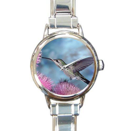 Birthday/Christmas Day Gifts Humming Bird 100% stainless steel Round Italian Charm (Bird Italian Charm Watch)