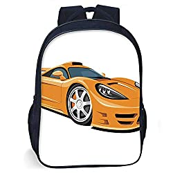 Cars Durable Schoolbag,Orange Sports Car Fast Racing Roadster Modern Automotive Technology Decorative for student,One size
