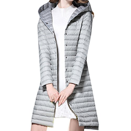 Partiss Women's Slim Fit Light Down Coat Chinese L Gray by Partiss